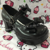 Black White Two Bows Lolita Shoes
