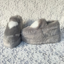 Sweet Grey White Furs Lolita High Platform