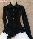 Rococo Style Lace Lolita Shirt Silk and Linen Khaki -In Stock