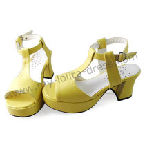 Cream Yellow T Strap Lolita Sandals- Clearance