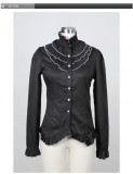 Gothic High Collar Long Sleeves Buttons Cotton Lolita Shirt