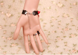 Red Bow Black Lace Lolita Handmade Bracelet with Ring