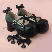 Removable Bows Cross Straps Lolita Shoes