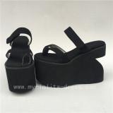 Black Jean Cloth Lolita High Platform with Unusaual Heels