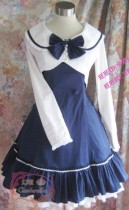 College Style Navy Blue Lolita Jumper Dress  + Mini-Coat Set