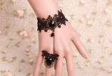 Retro Black Lace attached Ring Jewel Lolita Bracelet