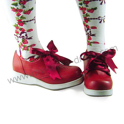 Wine Sash Bow Lolita Shoes