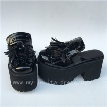 Sweet Glosssy Black Lolita Sandals Shoes Platform Flats