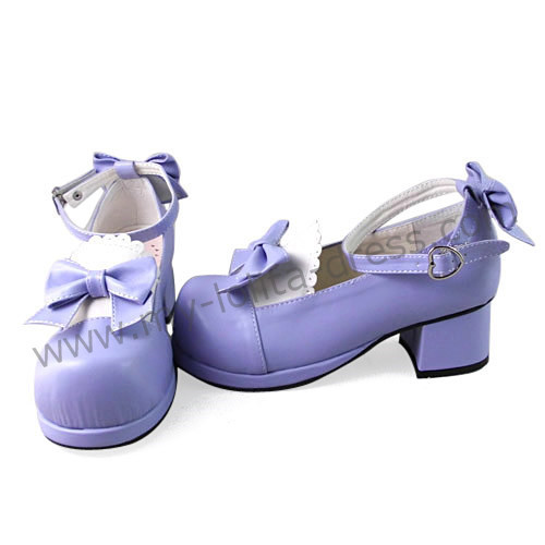 Purple White Bow Lolita Shoes