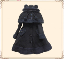 Lolita Princess Winter Heart Coat&Cape Black Bust: 150cm, Waist: 120cm In Stock