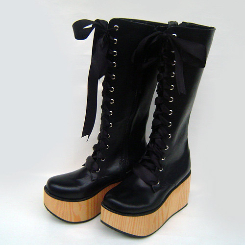 Black Straps Brown Sole Lolita Boots