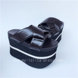 High Platform Black Matte Cross Belts Lolita Sandals