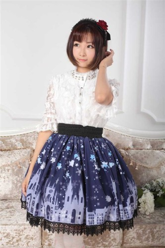 Dark Blue Gothic Lolita Pleated Skirt with Church Pattern