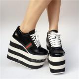 Black with White Lolita High Platform Shoes