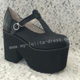 Lady's Gothic Matte Black Lolita Heels High Platform