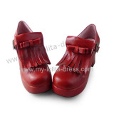 Matte Wine Wrapped Heel Punk Lolita Shoes