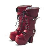 Wine Red High Platform Lolita Boots