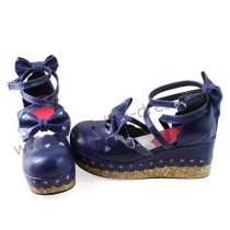 Dark Blue Bows Lolita Shoes
