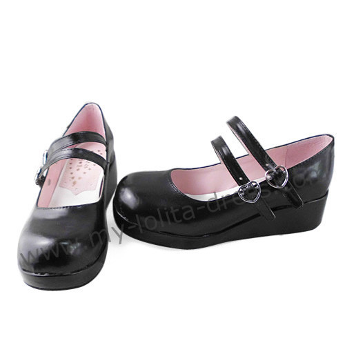 Black Double Strap Lolita Shoes