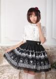Black Chandeliers Printed Lolita Pleated Skirt
