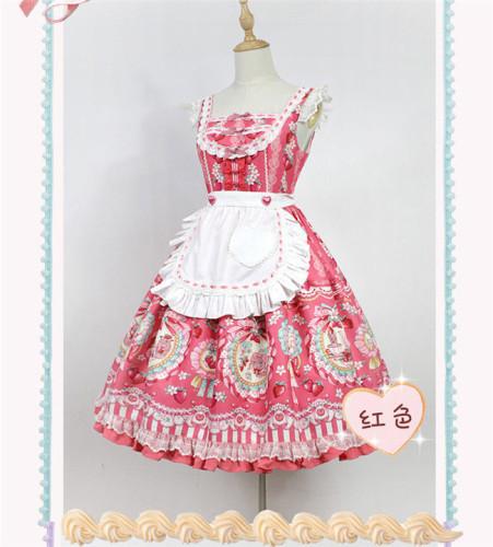 Strawberry Bunny~ Lolita Printed JSK Dress With Detachable Apron