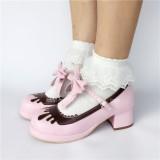 Sweet Black With Coffee Lolita Heels Shoes