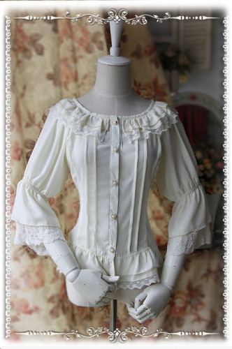 Infanta Fairy Dance Chiffon Blouse Milky White - In Stock
