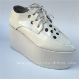 Beatiful Glossy White Lolita High Platform with holes