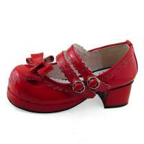 Double Straps Bow Lolita Shoes