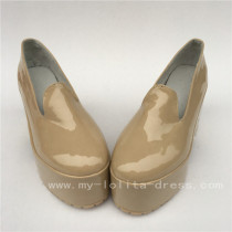 Beautiful Cream-coloured Glossy Square Heels Lolita Shoes