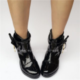 Beautiful Black Glossy Lolita Heels Shoes with Side Zipper