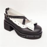 Sweet Black White Square Heels Lolita Shoes