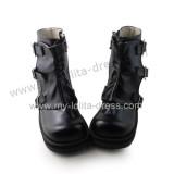 Matte Black Buckles Lolita Short Boots