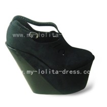 Beautiful Black Velvet Wedge Shoes