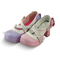 Purple Cross Straps Lolita Shoes