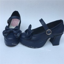 Navy Single Strap Bows Lolita Heels Tea Party Shoes