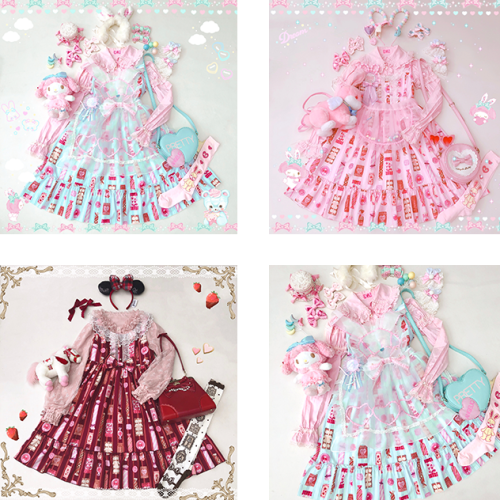 Diamond Honey ~Candy Store Sweet Lolita Jumper -3 Pink L in Stock