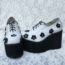 Sweet White Lolita High Platform with Black Flowers