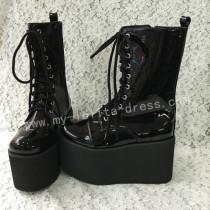 Sweet Glossy Black Lolita High Platform Boots