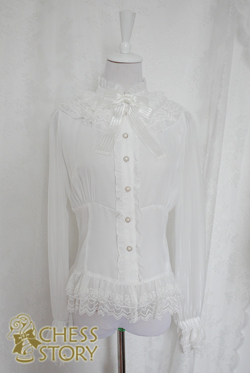 Chess Story Doll Theater Long Sleeves Blouse White M- IN STOCK