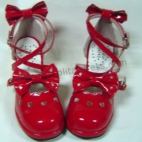 Bright Red Bows Lolita Shoes