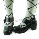 Black Wide Straps Bow Lolita Footwear
