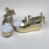 Sweet Girls' Champagne Lolita Shoes with White Lace