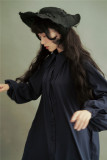 Vintage Unicolor Wing Collar Lolita OP Dress - Ready Made Navy M In Stock