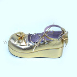 Shiny Gold Bow Lolita Shoes