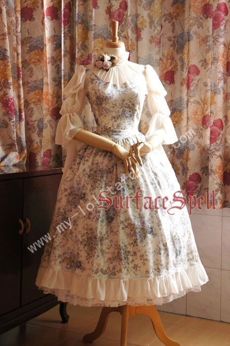 Surface Spell Gothic Middle Sleeves Dark Prints Lolita Dress