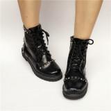 Black Matte Punk Style Lolita Short Boots