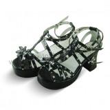 Black Lolita Sandals Silver Dots