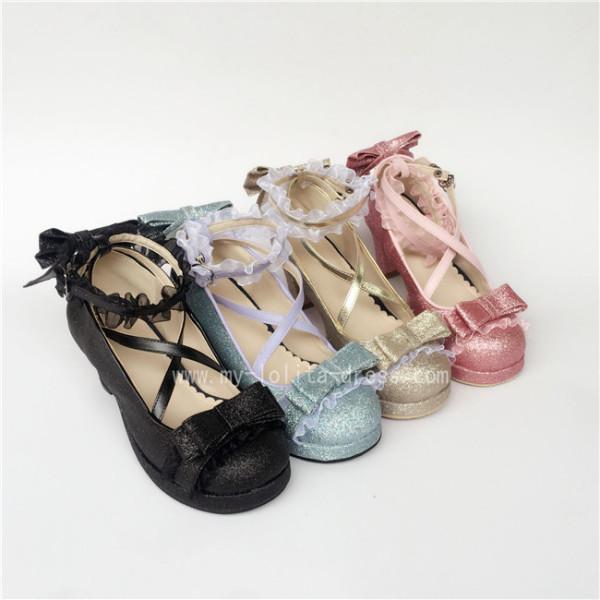 Sweet Cross Straps Bows Lolita Shoes