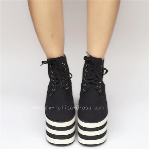 High Platform Black Canvas Shoes with Black White Soles